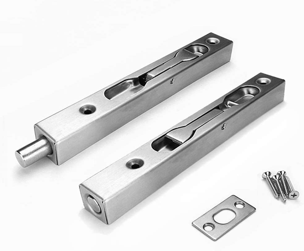 "V-CORME (2-Pack) 304 Stainless Steel 6""(15cm) Security Door Bolt Latch, Double Door Lever Action Flush Bolt Latch, French Door Slide Bolt Lock, Brushed Finish"