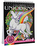 ColorIt Colorful Unicorns Adult Coloring Book - 50 Single-Sided Pages, Thick Smooth Paper, Lay Flat Hardback Covers, Spiral Bound, USA Printed, Hand Drawn Unicorn Coloring Pages