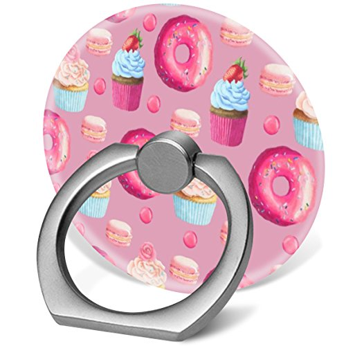 Pop 360 Degree Rotation Cellphone Finger Ring Holder Stand Car Mount Works for Smart Phone Iphone 5 6 7 8 X Plus Samsung HTC LG Ipad-pink donuts cupcakes and candies