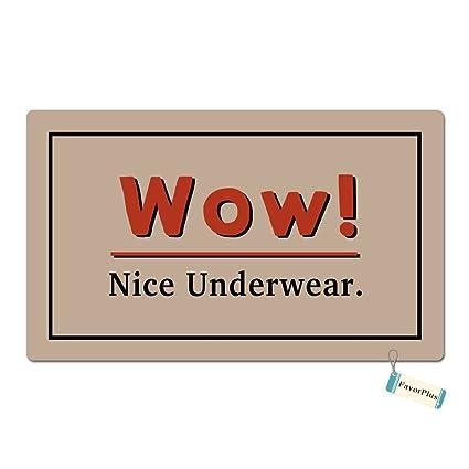 Alfombra para puerta de Lehezzo Wow bonita ropa interior divertida entrada personalizada, lavable a máquina
