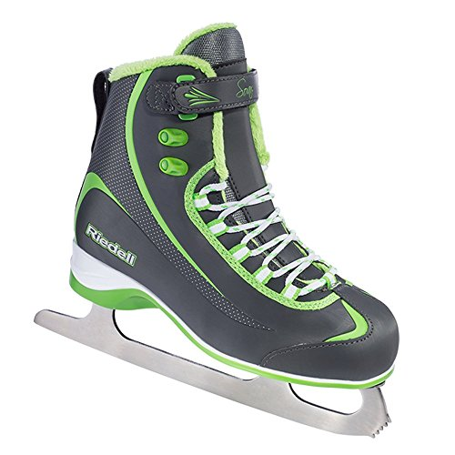 Riedell 615 Soar / Kids Beginner/Soft Figure Ice Skates / Color: Gray and Lime / Size: 10