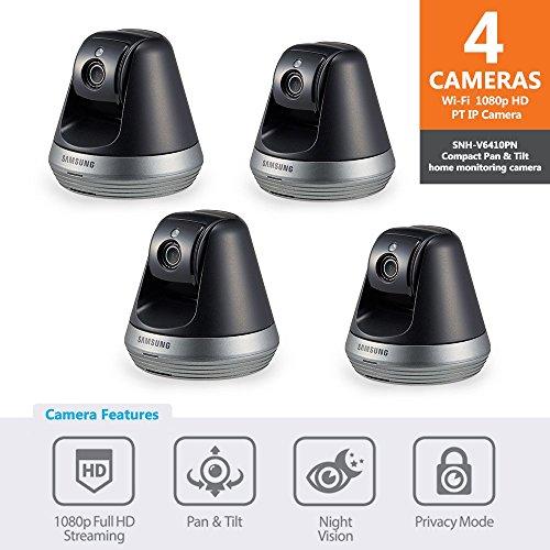 Samsung SNH-V6410PN SmartCam Pan/Tilt Full HD 1080p Wi-Fi IP Camera Bundle Quad...