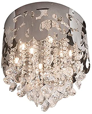 Finesse Decor FN-601 Petit Crystal Crown Flush Mount, Chrome