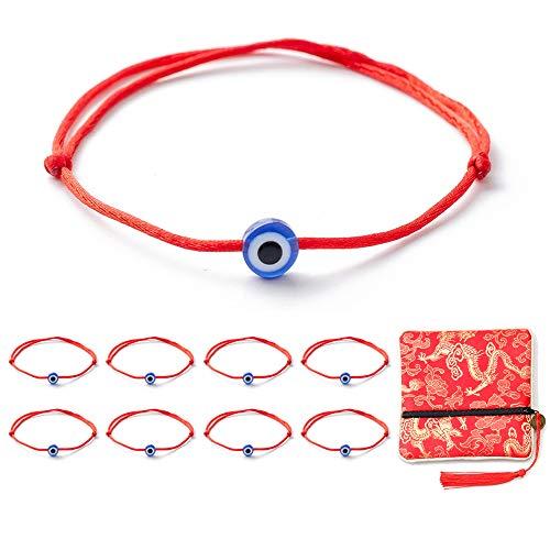 Kelistom 8 Pieces Evil Eye Red Kabbalah String Bracelets for Women Men Boys Girls Protection Amulet Storage Gift Bag with Long Tassels