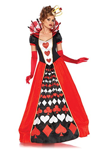 Leg Avenue Women's Wonderland Queen of Hearts Halloween Costume, Multi, -