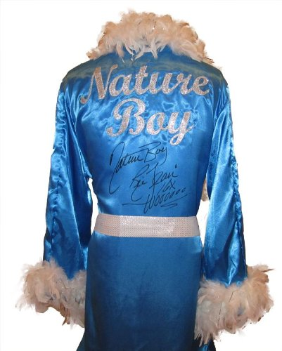 Ric Flair Robe (Ric Flair Signed Baby Blue Robe & White Feathers w/ Nature Boy,16x & Wooooo Inscription - Autographed Wrestling Robes, Trunks and Belts)