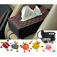 Universal Car Auto Tissue Box Case Paper Holder Car cover holder red black
