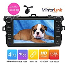 For TOYOTA COROLLA 2007-2013 In dash Car Multimedia GPS Navigation System Android 5.1 Lollipop Car DVD Player car stereo headunit Bluetooth SD/AUX/USB/ Wifi Mirror Link quda core cpu 1g ram+16g rom