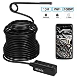 Wireless Endoscope Compatible iPhone Android, NIDAGE WiFi 5.5mm Borescope Inspection Camera 2.0MP HD Semi-Rigid Snake Camera for Inspecting Motor Engine Sewer Pipe Vehicle (33FT)