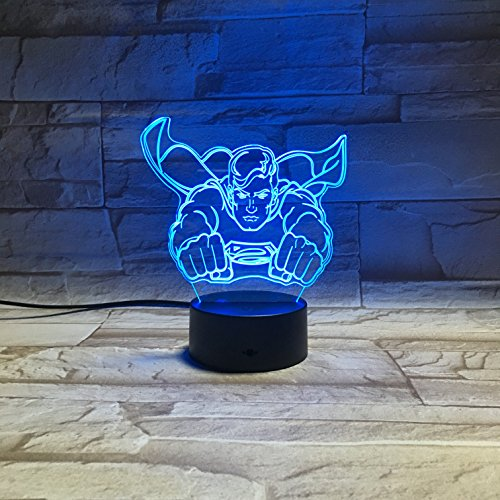 LE3D 3D Optical Illusion Desk Lamp/3D Optical Illusion Night Light, 7 Color LED 3D Lamp, Justice League 3D LED For Kids and Adults, DC Comics Superman Light - Night Light Superman