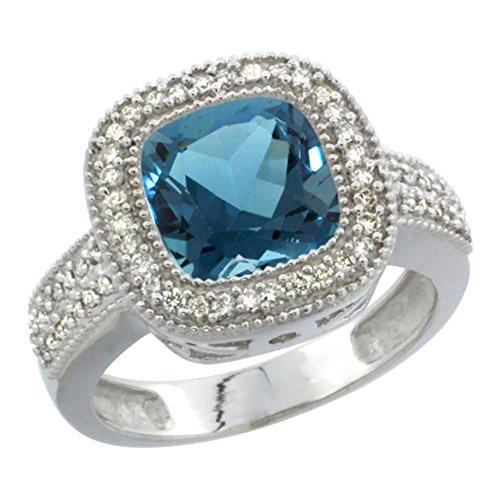 (10K White Gold Natural London Blue Topaz Ring Cushion-cut 9x9mm Diamond Accent, size 10)