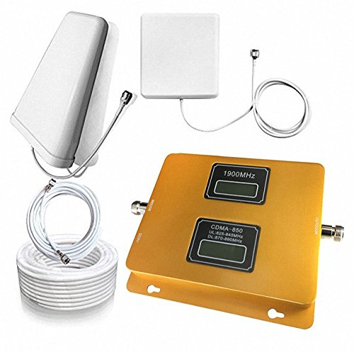 Sanqino Home 2G/3G/4G Dual Display Cell Phone Signal Booster 850MHz/1900MHz Dual Band Mobile Repeater For 2G/4G Verizon,Sprint,U.S. Cellular 2G/3G/4G (Verizon Wireless Repeater)