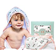 Baby Girl Hooded Towel & Washcloth Set (pink) | Organic, Gentle, and Extra Soft For Newborn, Infant & Toddler | Thick Absorbent Hood For Extra Warm Babies After Bath or Pool.