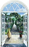 4.5-Feet wide by 7.15-Feet high. Prepasted robust wallpaper mural from a photo of:Door to the Garden.Our murals are easy to install remove and reuse (hang again)If you watch and do as in our video.