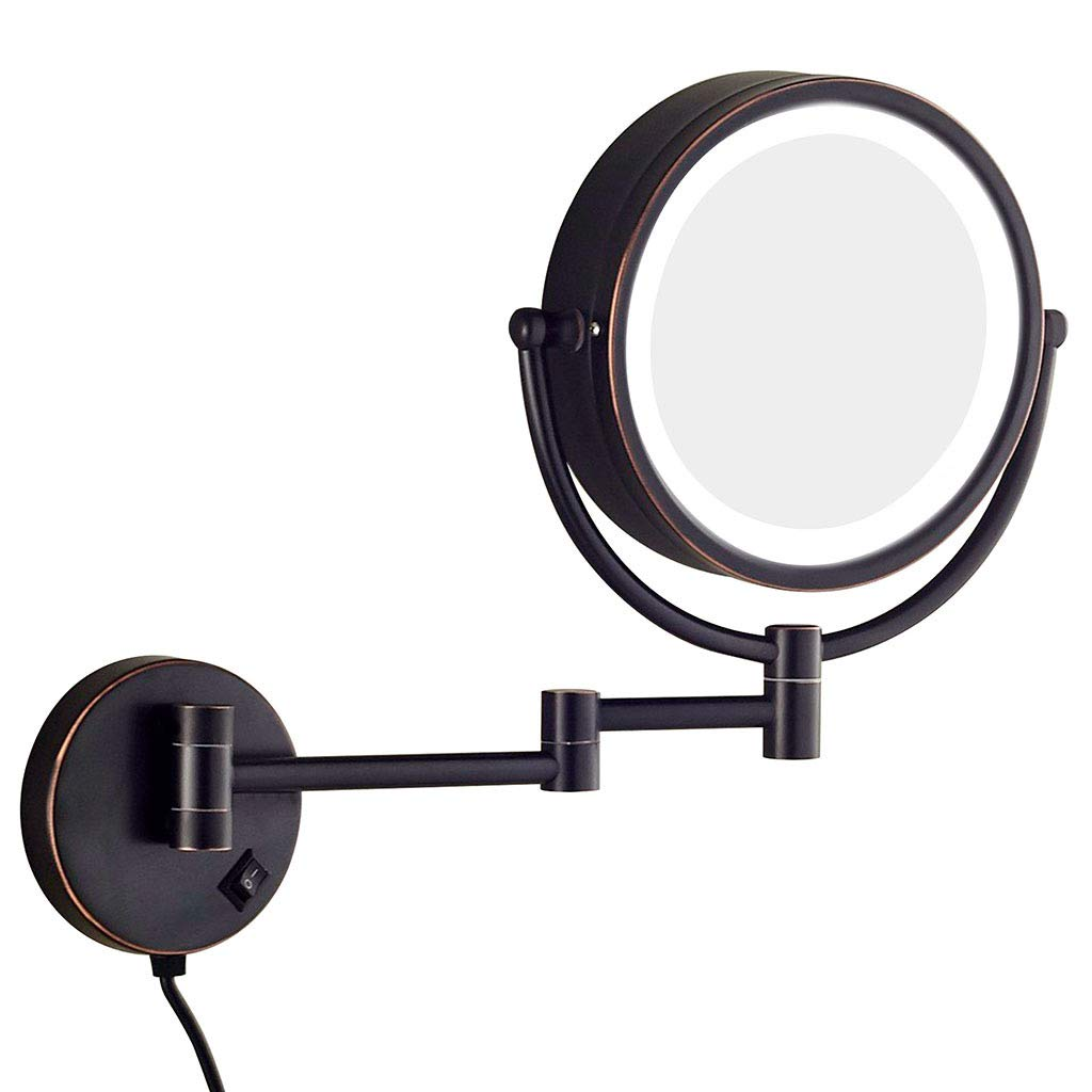 GUHAIBO Lighted Makeup Mirror with Magnification Travel, Bathroom Mirror with LED Lights,Two-Sided Swivel Extendable,Black_8.5inch
