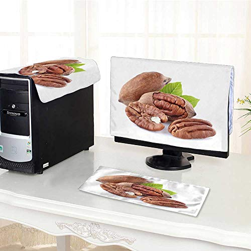 UHOO2018 dust Cover for Computer 3 Pieces Pecan with Leaves Suit Computer dust Cover /32