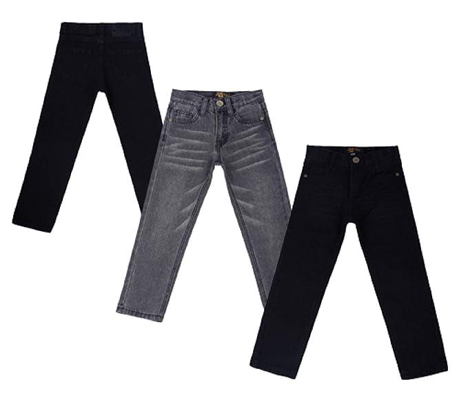 justfound4u Pantalones Vaqueros elásticos Ajustables para niños, Color Negro carbón y Azul desteñido, para niños de 2 a 3 a 4 a 6 a 7 a 9 a 11 12 13 ...