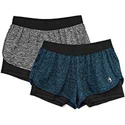 icyzone Running Yoga Shorts For Women - Activewear Workout Exercise Athletic Jogging Shorts 2-in-1 (Charcoal/Royal Blue, M)