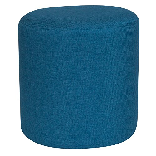 Flash Furniture Barrington Upholstered Round Ottoman Pouf in Blue Fabric