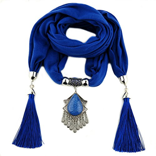Idea Resin Stone Pendant Scarf Necklace Jersey Scarf Tassel Jewelry for Women (Blue) ()