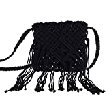 (US) I-MART Women Crochet Fringed Messenger Bags Tassels Cross Beach Bohemian Tassel Shoulder Bag (Black)