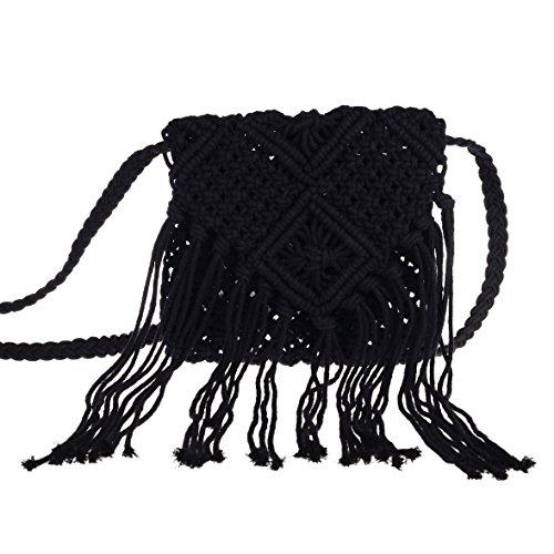 I-MART Women Crochet Fringed Messenger Bags Tassels Cross Beach Bohemian Tassel Shoulder Bag ()