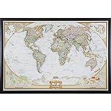 Craig Frames Wayfarer, Executive World Push Pin Travel Map, Brazilian Walnut frame and Pins, 24 by 36-Inch
