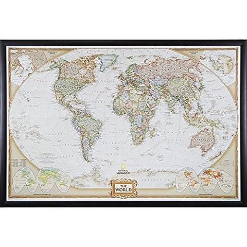 Craig Frames Wayfarer, Executive World Push Pin Travel Map, Brazilian Walnut frame and Pins, 24 by - Detail Map