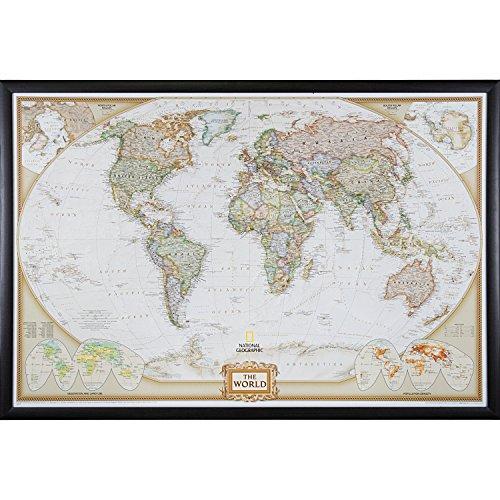 - Craig Frames Wayfarer, Executive World Push Pin Travel Map, Brazilian Walnut frame and Pins, 24 by 36-Inch