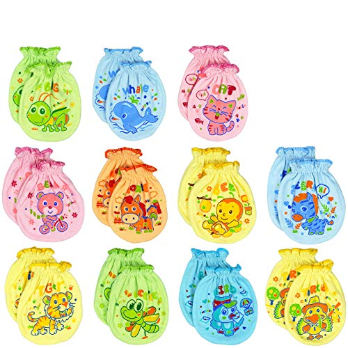Liwely 6 Pairs Unisex-Baby No Scratch Mix Colors Assorted Mittens, 100% Cotton, Assorted Animals