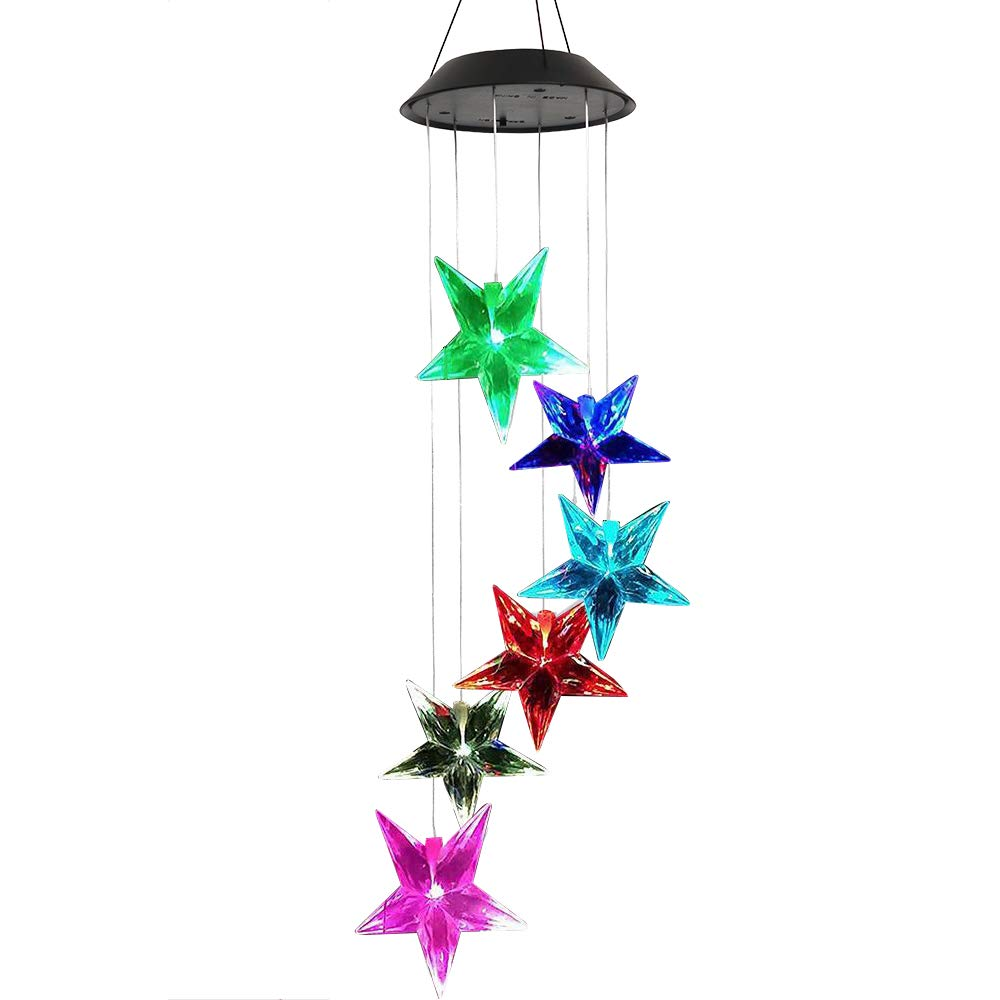 Elisson 1992 Color-Changing Outdoor Solar Chimes Waterproof Garden Tree Hanging Decorations Wind Spinners for Patio Deck Yard Pool Decoration