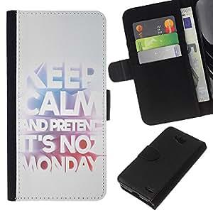 KingStore / Leather Etui en cuir / LG OPTIMUS L90 / Mantenga Trabajo Oficina de Trabajo Lunes divertido texto