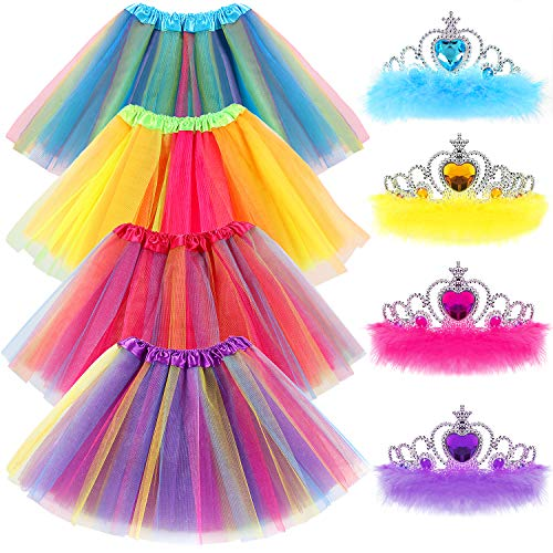 Princess Dress up Clothes for Little Girls Tiara Gifts Set Birthday Balle Dance Party Favors Tutu Skirts for Girls Rainbow]()