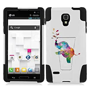 Fincibo (TM) LG Optimus L9 P769 Hybrid Dual Layer Protector Cover Case Gel Silicone With Stand - Colorful Elephant