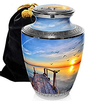 Image of Home and Kitchen Dock of The Bay Cremation Urns for Human Ashes Adult for Funeral, Burial, Columbarium or Home, Cremation Urns for Human Ashes Adult 200 Cubic Inches, Urns for Ashes, Adult/Large