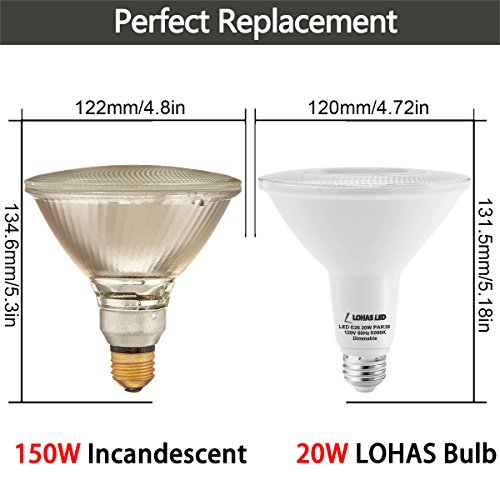 lohas par38 dimmable e26 base led flood light bulb. Black Bedroom Furniture Sets. Home Design Ideas