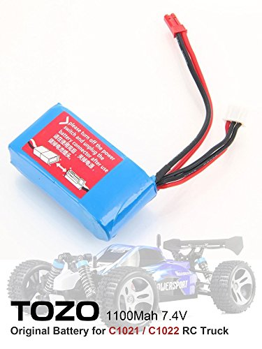 TOZO 7.4V 1100mAh Battery for C1025 / C1021 / C 1022 RC CAR High Speed 32MPH 4x4 Off Road Truck Powersport Roadster ( 1pcs )