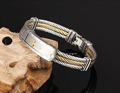 Vittore Angelo Collection Mens Stainless Steel Cross Bracelet Bangle