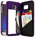 sprint galaxy edge - Galaxy S7 Edge Case, Bastex Purple Hidden Back Mirror Wallet Case with Stand Feature and Card Holder for Samsung Galaxy S7 Edge G935