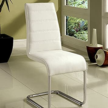 1PerfectChoice Set of 4 Modern Kitchen Dining Side Chair in White Leatherette & Chrome Base Leg