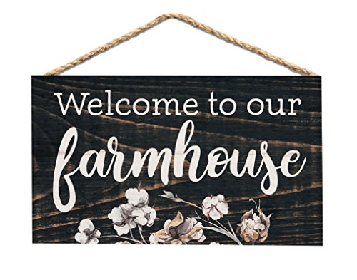 me to Our Farmhouse Dark Brown 6 x 3.5 Wood Mini Wall Hanging Plaque Sign ()