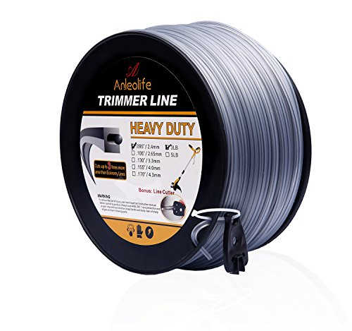 - Anleolife 3-Pound Heavy Duty Square .095-Inch-by-780-ft String Trimmer Line in Spool, with Bonus Line Cutter, Dual-Core