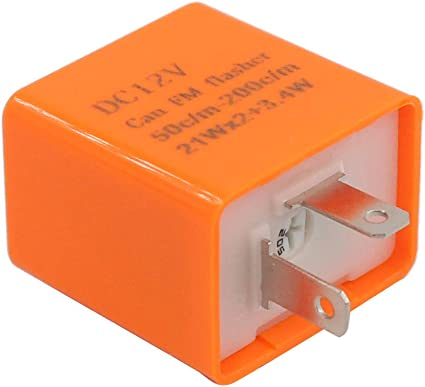 XtremeAmazing 2 Pack Black 12V 2 Pin Adjustable Motorcycle Light LED Electronic Turn Signal Flasher Hyper Indicator Flash