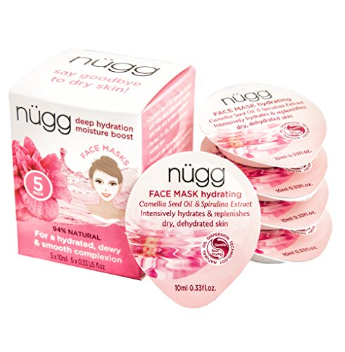 nügg Hydrating and Moisturizing Face Mask for Dry, Dehydrated and Sensitive Skin; Boosts Skin's Moisture Level and Erases Dry Spots and Flakiness; 94 Percent Natural; 5 Pack of Masks (5 (Dry Face)