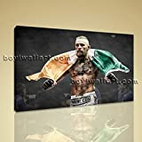 Large Conor Mcgregor Ufc Sport Contemporary Canvas Wall Art Print Ready to Hang, Large boxing Wall Art, Bedroom, Nero