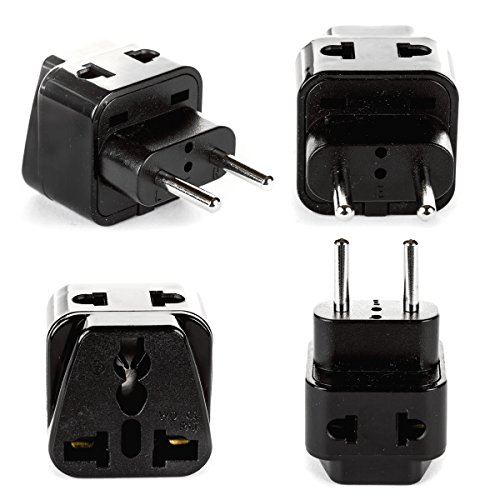 OREI Europe Power Plug Adapter Works in Russia, Turkey, Ethiopia, Korea, Monaco and More   (Type C) - 4 Pack, Black A/c Fits All Adapter