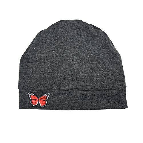 Dark Heather Grey Womens Soft Chemo Cap and Sleep Turban with Red Butterfly