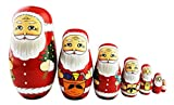 Winterworm Cute Creative Santa Claus's Bringing Kinds of Gifts to You Pattern Handmade Wooden Matryoshka Dolls Russian Nesting Dolls Set 7 Pieces for Kids Toy Birthday Home Decoration
