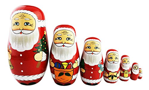 Winterworm Cute Creative Santa Claus's Bringing Kinds of Gifts to You Pattern Handmade Wooden Matryoshka Dolls Russian Nesting Dolls Set 7 Pieces for Kids Toy Birthday Home Decoration ()