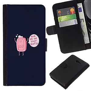 """JackGot ( Frote Me On Your Jabón Butt - Gracioso"""" ) Sony Xperia M2 la tarjeta de Crédito Slots PU Funda de cuero Monedero caso cubierta de piel"""